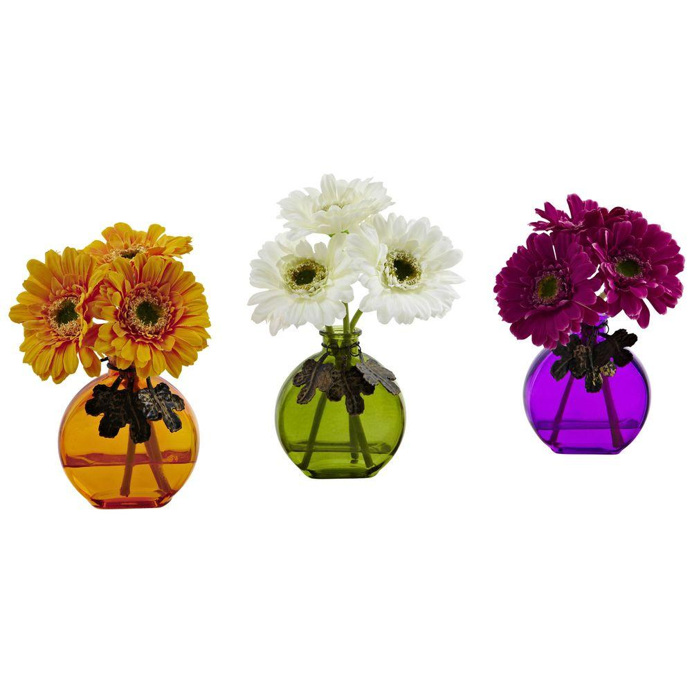 Nearly Natural Gerber Daisy with Colored Vase (Set of 3),...