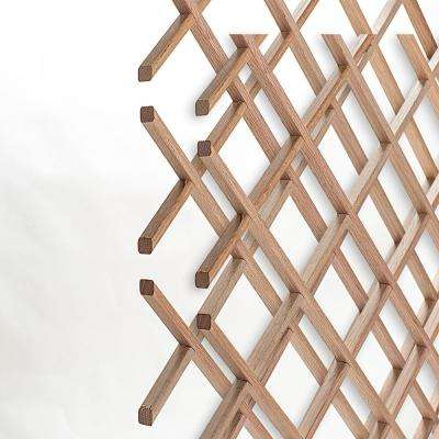 18-Bottle Trimmable Wine Rack Lattice Panel Inserts in Unfinished Solid North American Red Oak