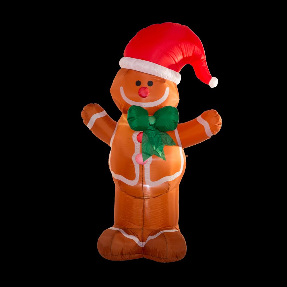 Glitzhome 8 Ft Lighted Inflatable Gingerbread Man Decor Gh1125004442 The Home Depot