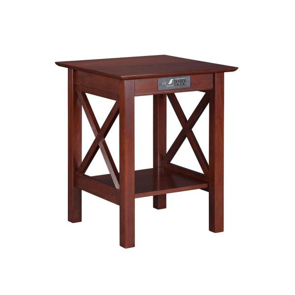 Atlantic Furniture Lexi Walnut Printer Stand with Charging Station