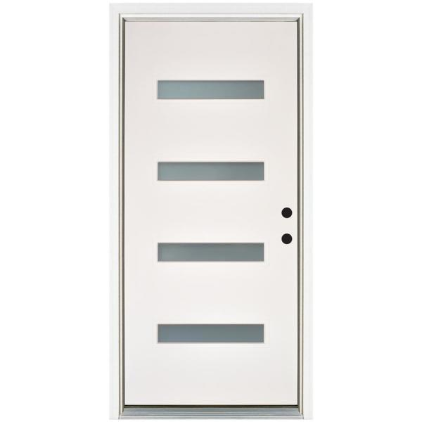36 in. x 80 in. Smooth White Left-Hand Inswing 4-Lite Frosted Fiberglass Prehung Front Door