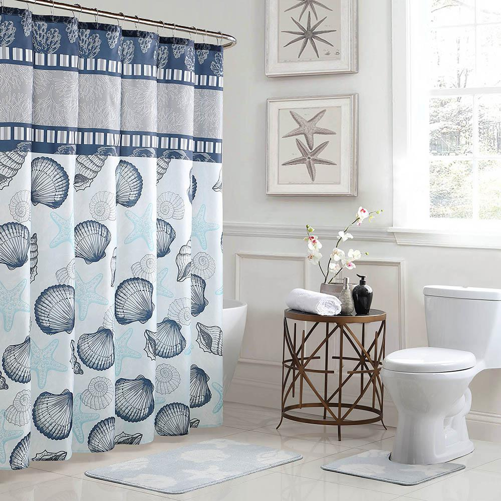 Bath Fusion Island 18 In X 30 Rug And 72 Shower Curtain 15 Piece Set Blue Grey YMB007222