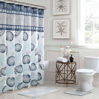 Island 18 in. x 30 in. Bath Rug and 72 in. x 72 in. Shower Curtain 15-Piece Set in Blue/Grey