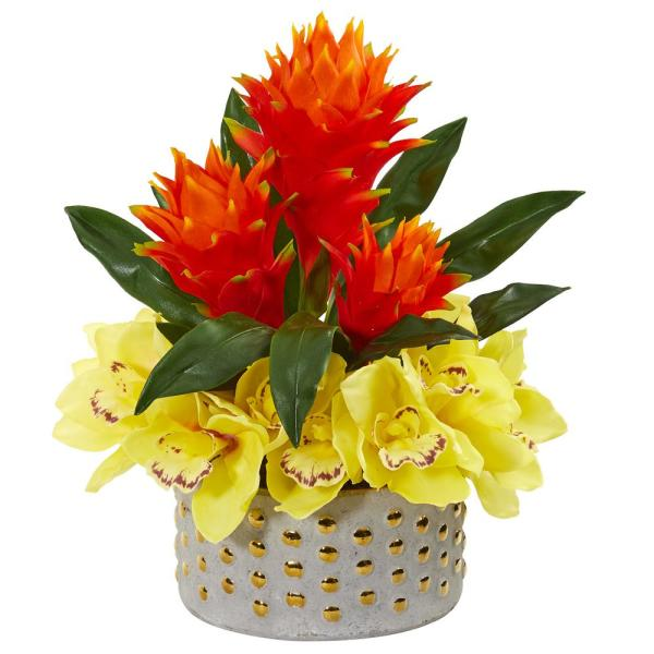 Nearly Natural Cymbidium Orchid and Bromeliad Artificial Arrangement 1943