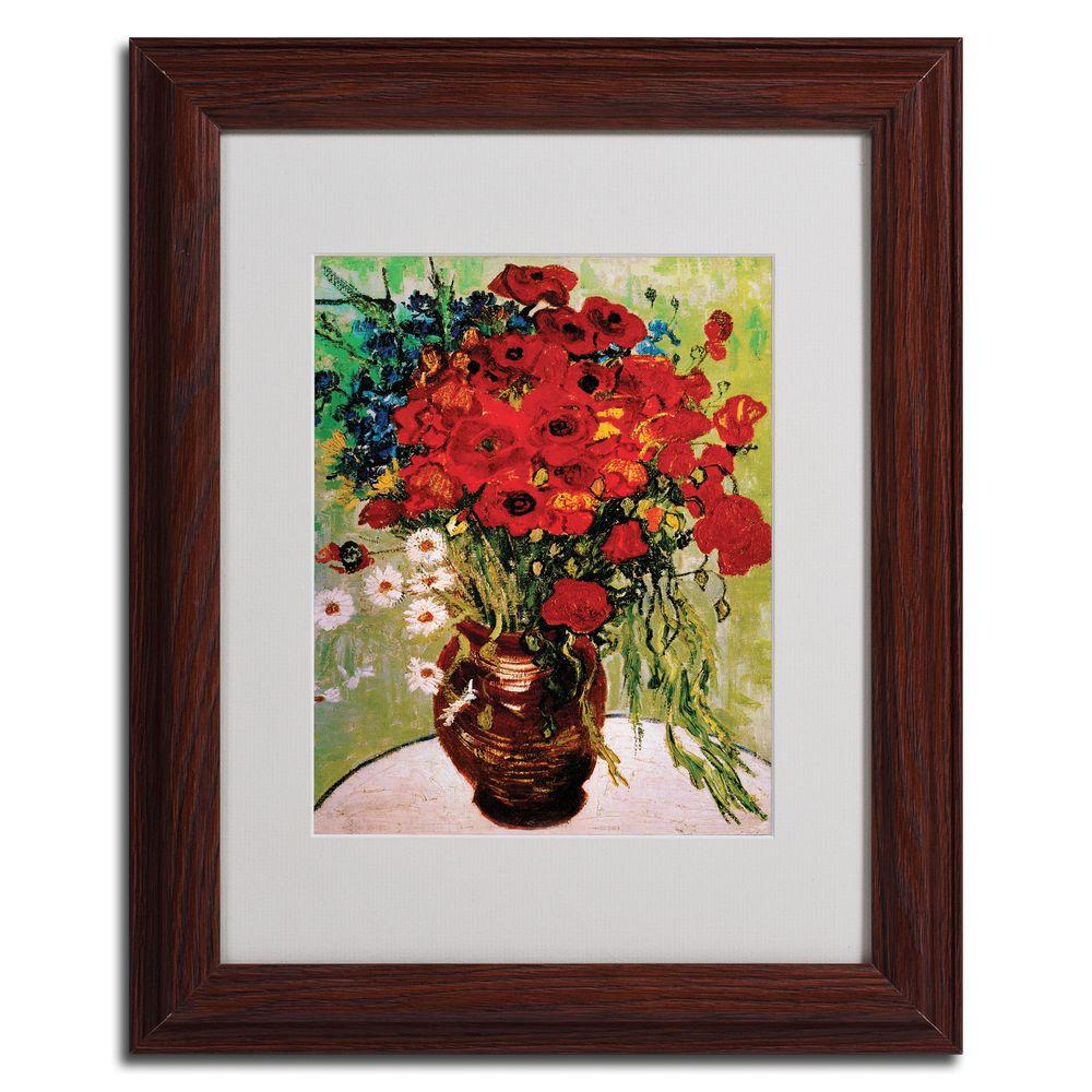 Trademark Fine Art 11 in. x 14 in. Daisies and Poppies Dark Wooden Framed Matted Art