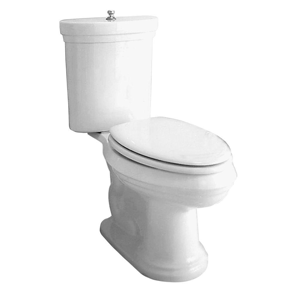 Porcher Archive 2-Piece Elongated Water Closet Toilet with Chrome Trip Lever in White-DISCONTINUED