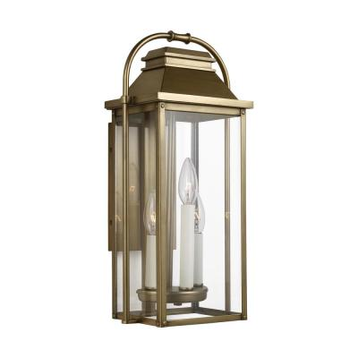 Wellsworth 18.25 in. 3-Light Painted Distressed Brass Outdoor Wall Lantern Sconce
