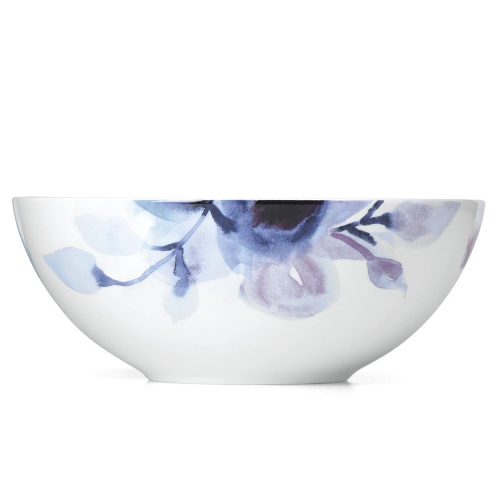 Indigo Watercolor Floral Serve Bowl