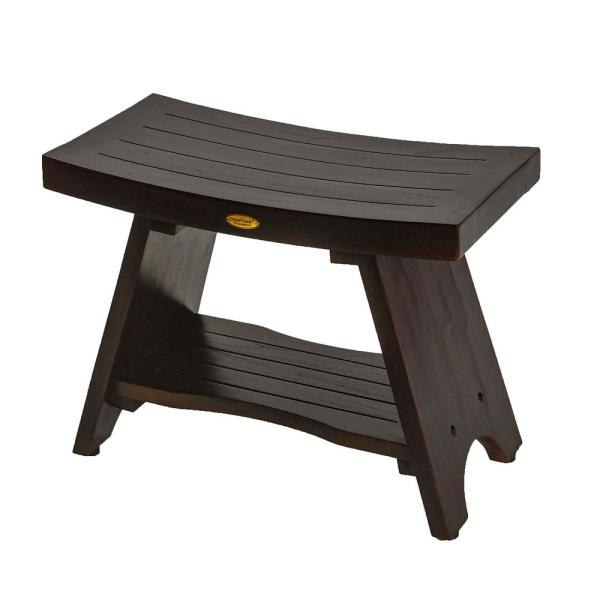 Decoteak Serenity 24 In Eastern Style Teak Shower Bench With Shelf Dt98 The Home Depot