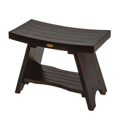 Serenity 24 in. Eastern Style Teak Shower Bench with Shelf