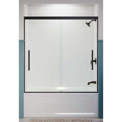 Pleat 59.625 in. x 63.5625 in. Frameless Sliding Bathtub Door in Matte Black with Crystal Clear Glass
