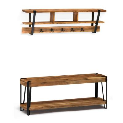 48 in. Ryegate Natural Live Edge Bench with Coat Hook Shelf Set