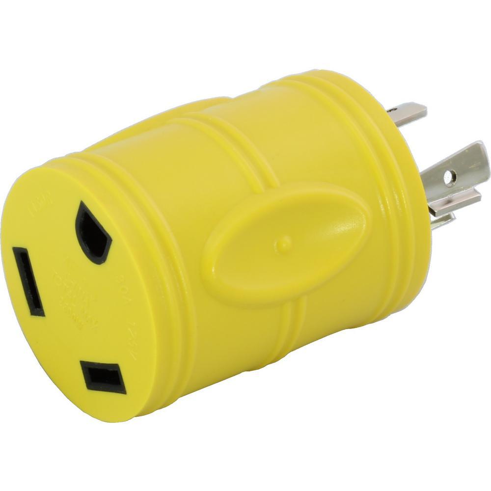 RV Generator Adapter NEMA L14-20P 20 Amp 125-Volt/250-Volt 4-Prong Locking Plug to RV TT-30R 30 Amp RV Female Connector