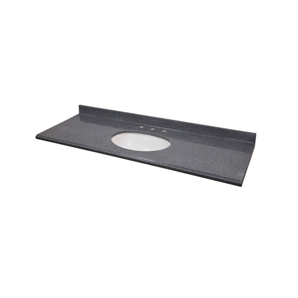 St. Paul 61 in. Cast Polymer Vanity Top in Gray with White Undermount Basin-DISCONTINUED