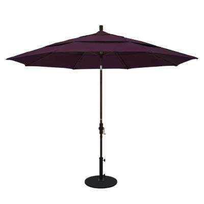 11 ft. Aluminum Collar Tilt Double Vented Patio Umbrella in Purple Pacifica