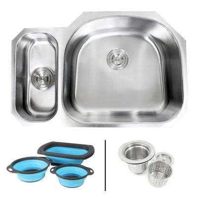 Undermount 16-Gauge Stainless Steel 32 in. 20/80 Double Bowl Kitchen Sink in Sharp Pearl with Collapsible Colanders
