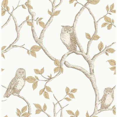 56.4 sq. ft. Linden Natural Owl Wallpaper