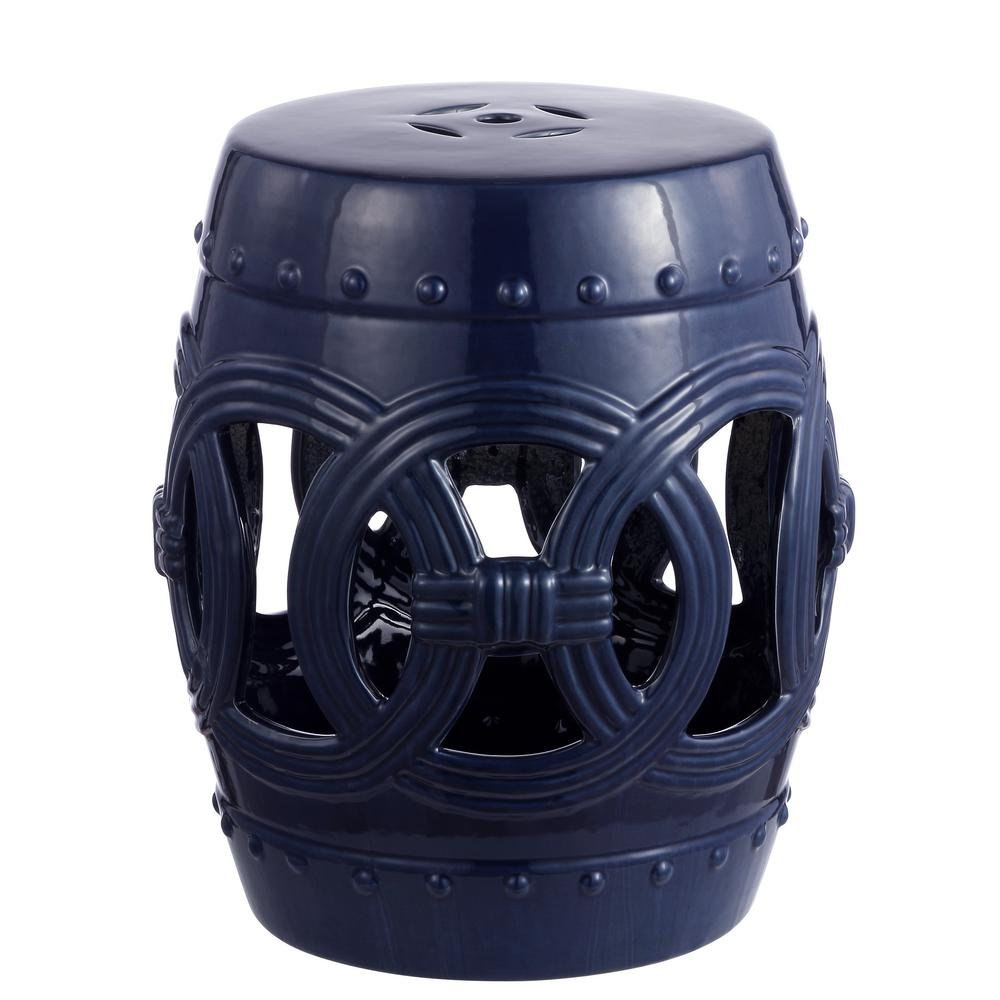 Pleasant Jonathan Y 16 In Navy Chinese Ceramic Drum Lucky Coins Garden Stool Gamerscity Chair Design For Home Gamerscityorg