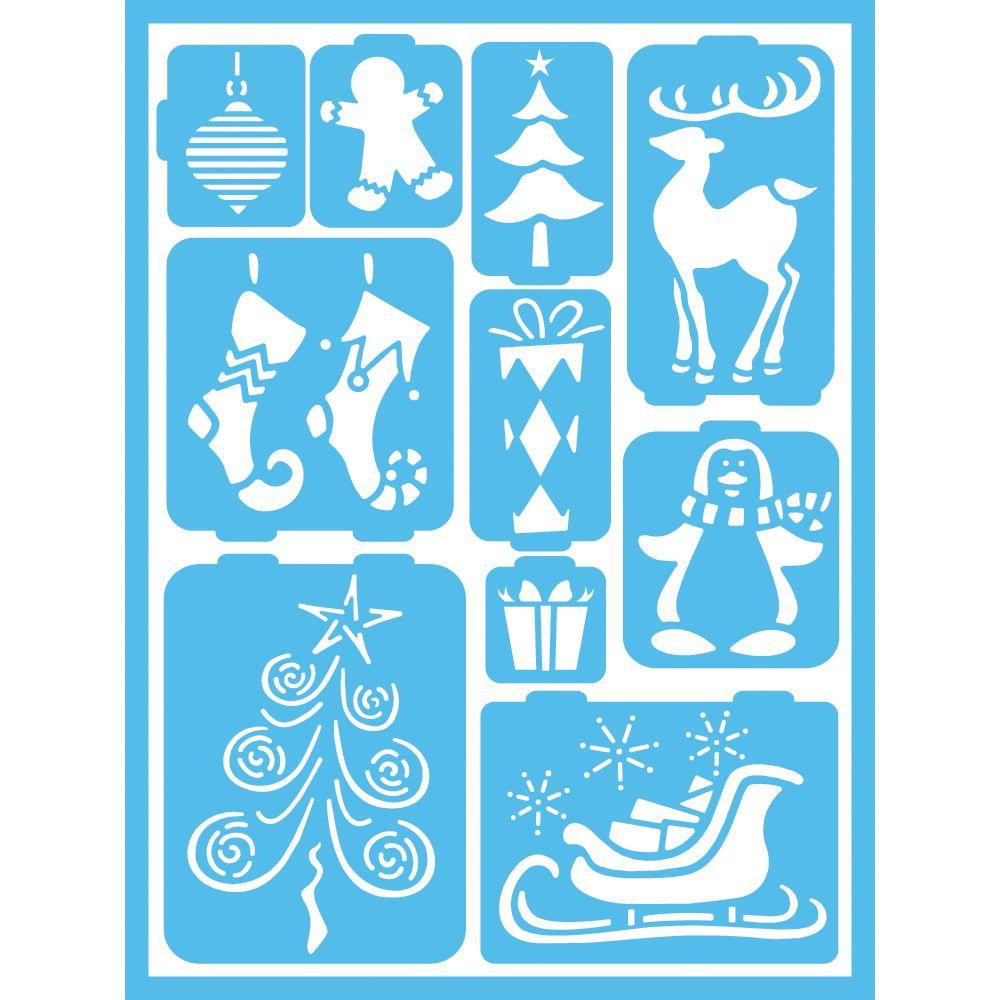 Stencils craft art supplies the home depot whimsical christmas self adhesive stencil amipublicfo Images
