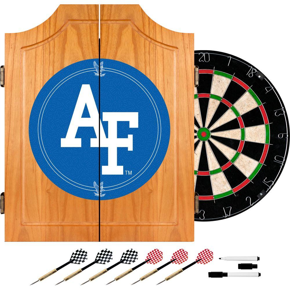 Trademark Wood Finish Dart Cabinet Set   Air Force Falcons