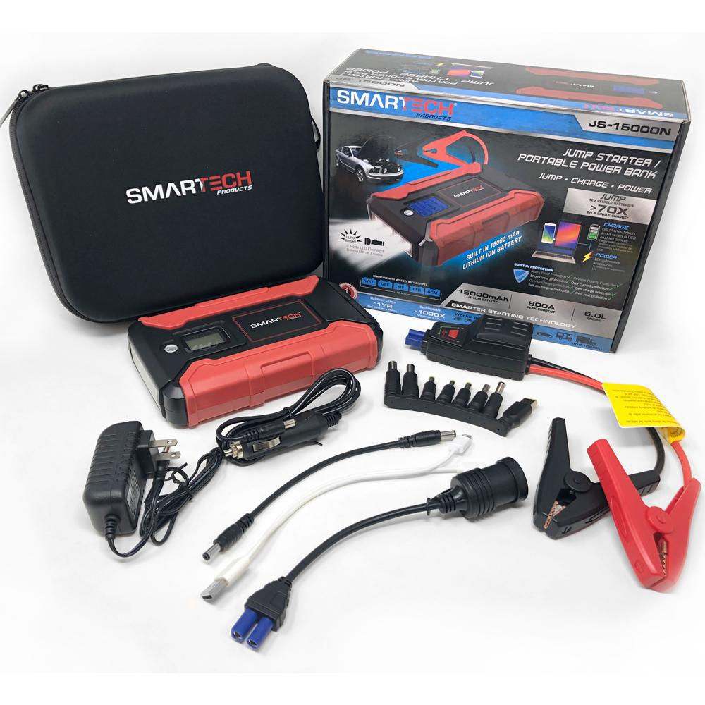 Smartech Products Smartech JS-15000N 15000 mAh Lithium Powered Vehicle Jump Starter and Power Bank Starter and Power Bank