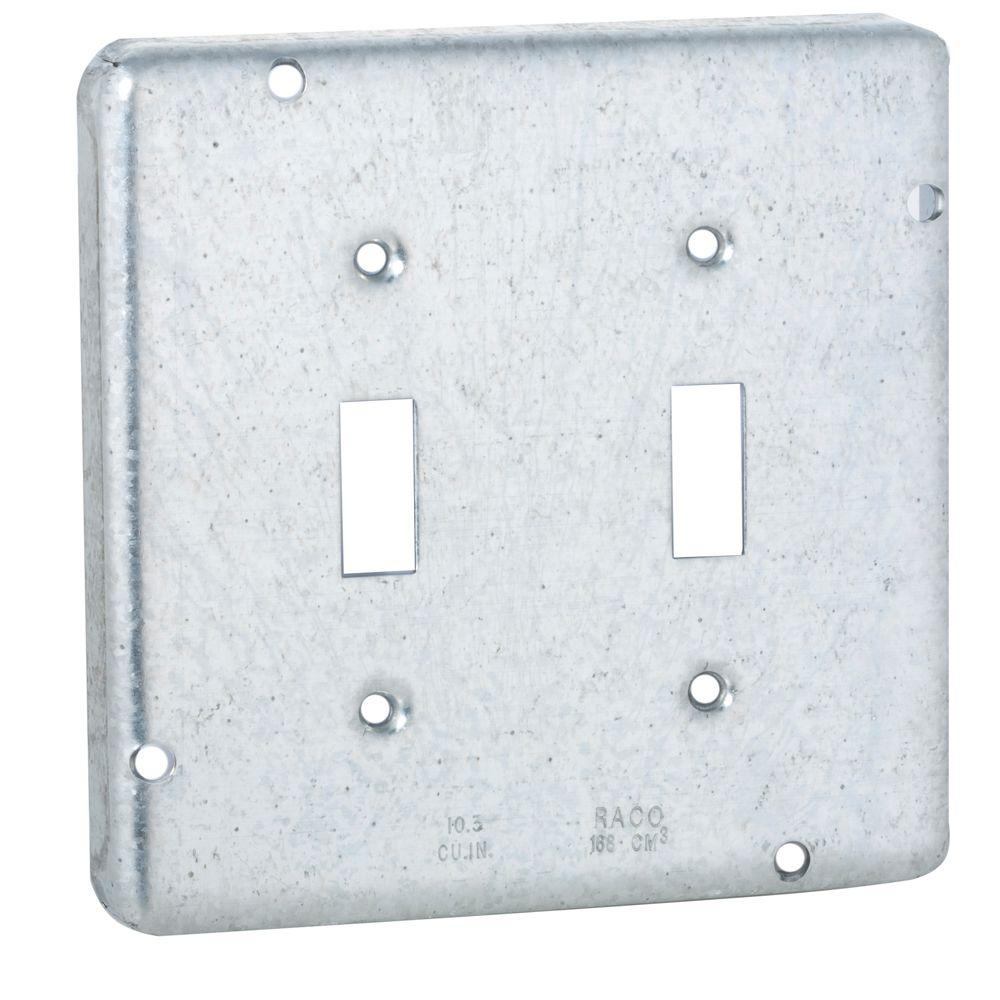 RACO 4-11/16 in. Square Exposed Work Cover for Two Toggle Switches ...