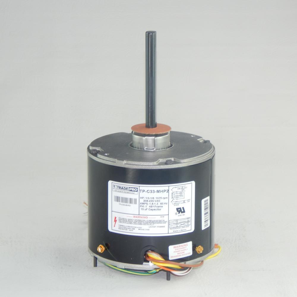 Replacement Condenser Fan Motor 1/3 Multi-Horsepower 1075 RPM 230-Volt