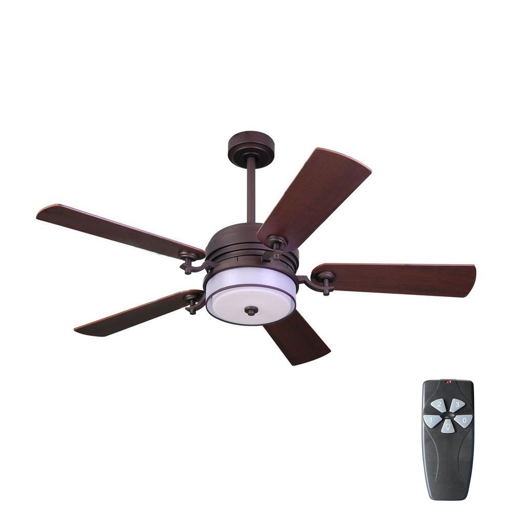 Home Decorators Collection 52 in. Indoor Bronze Organza Shade Ceiling Fan with Light Kit and Remote Control