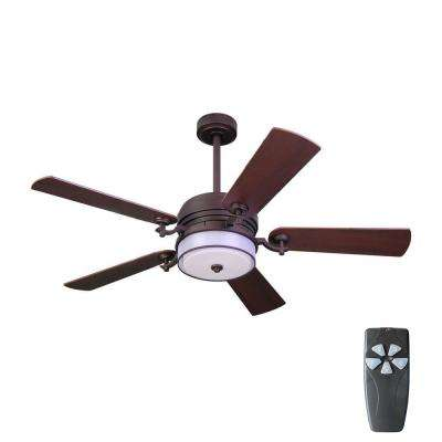 52 in. Indoor Bronze Organza Shade Ceiling Fan with Light Kit and Remote Control