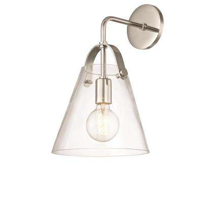Karin 1-Light Polished Nickel Wall Sconce with Clear Glass