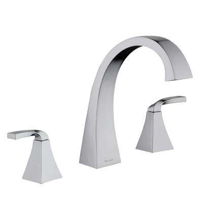 Leary Curve 2-Handle Deck-Mount Roman Tub Faucet in Chrome