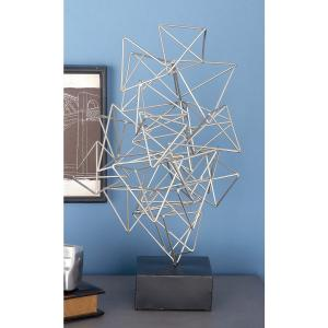 20 inch x 11 inch Abstract Sculpture in Silver-Finished Iron by