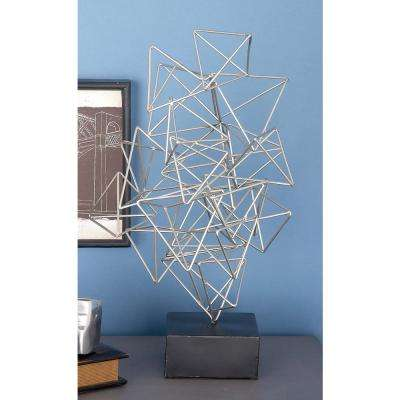 20 in. x 11 in. Abstract Sculpture in Silver-Finished Iron