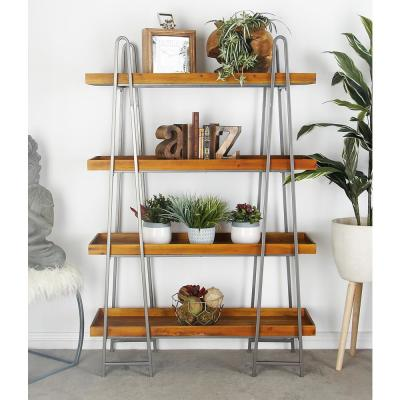 LITTON LANE Brown Wood 4-Tier Shelf with a Polished Gray A-Type Iron Frame