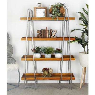 Brown Wood 4-Tier Shelf with a Polished Gray A-Type Iron Frame