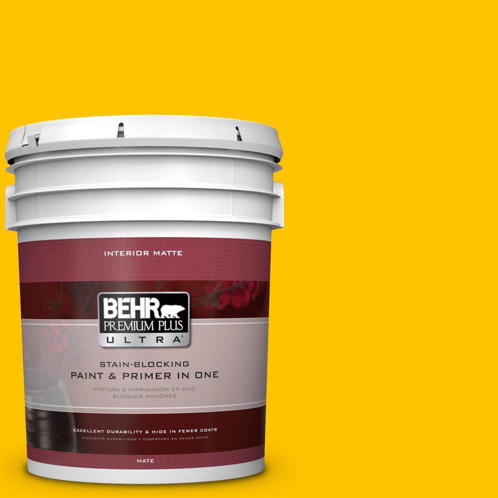 BEHR Premium Plus Ultra 5 gal. #S-G-370 Citrus Splash Flat/Matte Interior Paint