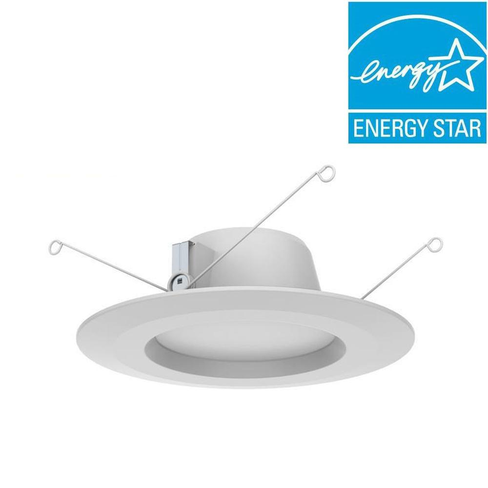Commercial electric 6 in soft white recessed led can disk light ce white integrated led recessed trim 4 pack aloadofball Image collections