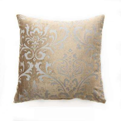 Damask Taupe Velvet Pillow