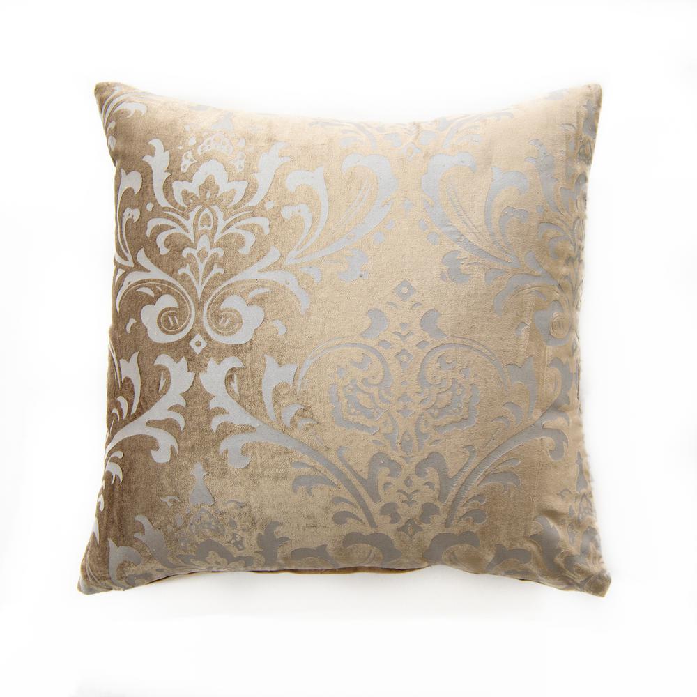 Damask Taupe Velvet Pillow
