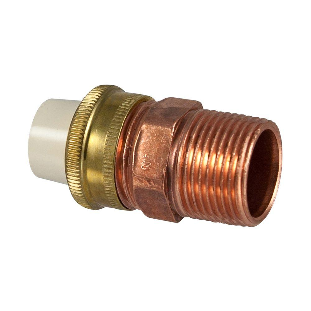 1 2 in x 3 4 in lead free copper and cpvc cts mpt x slip for Cpvc hot water