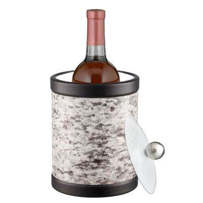 Amerillo Silver Stone 2 Qt. Tall Gray Ice Bucket with Bale Handle and Acrylic Lid