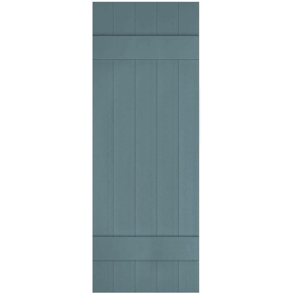 Ekena Millwork 17 1 2 In X 39 In Lifetime Vinyl Custom Five Board Joined Board And Batten Shutters Pair Wedgewood Blue Lj5c17x03900wb The Home Depot