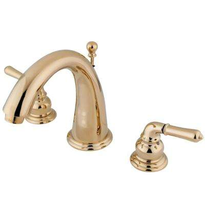 Naples 8 in. Widespread 2-Handle Bathroom Faucet in Polished Brass
