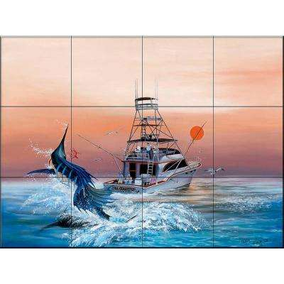 Bill Collector 17 in. x 12-3/4 in. Ceramic Mural Wall Tile