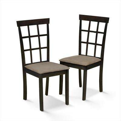 Helena Cappuccino Micro Fabric Dining Chair (Set of 2)