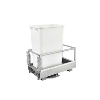 23.5 in. H x 12.13 in. W x 22 in. D Single 50 Qt. Pull-Out Brushed Aluminum and White Waste Container with Rev-A-Motion
