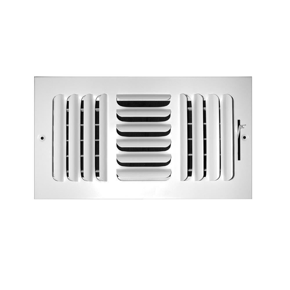 12 in. x 6 in. 3-Way Fixed Curved Blade Wall/Ceiling Register