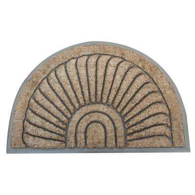 A1HC First Impression Sunburst Half Moon Tapered Edge Beige 24 in. x 36 in. Rubber and Coir Door Mat