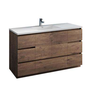 Lazzaro 60 in. Modern Bathroom Vanity in Rosewood with Vanity Top in White with White Basin