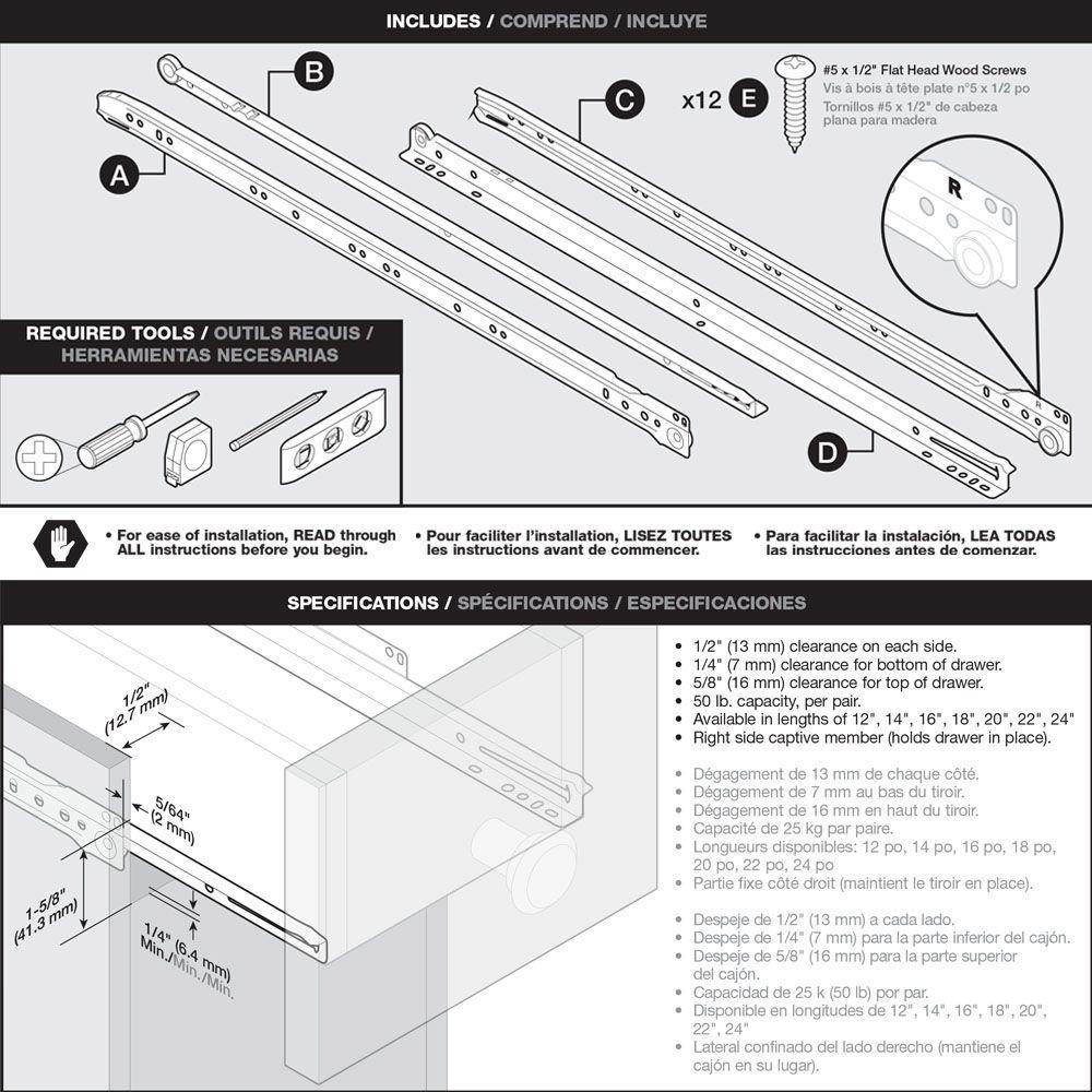 Liberty D68812C-W-TX 12 Bottom Mount Drawer Slide Single Pack